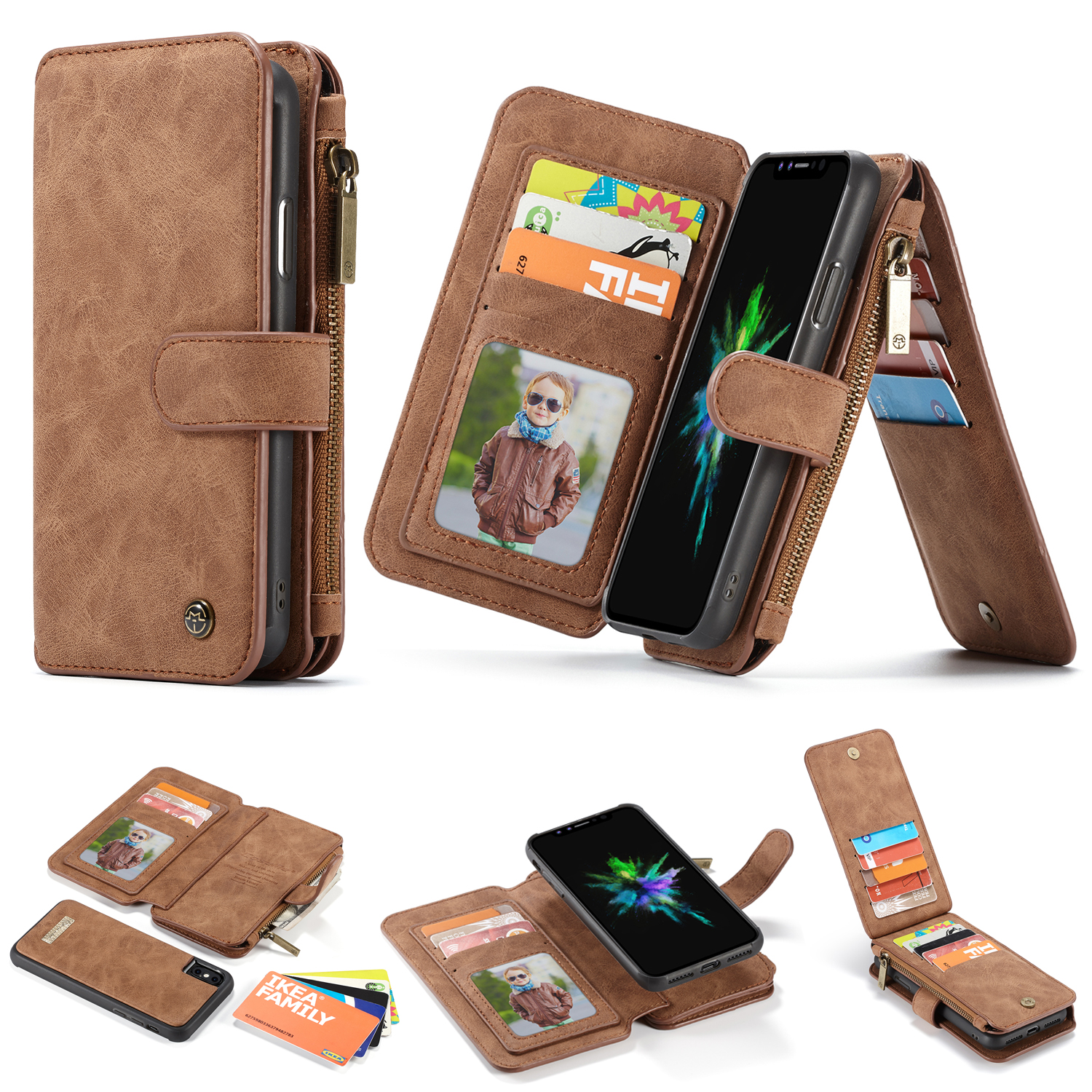 Leather Flip Case Fit for iPhone X Cozy Wallet Cover for iPhone X