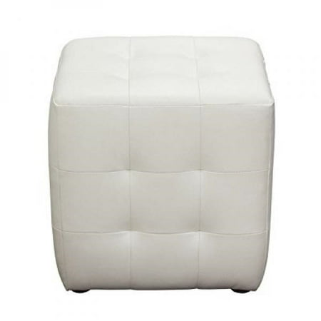 - Diamond Sofa Zen Collection Bonded Leather Tufted Cube Accent Ottoman, White