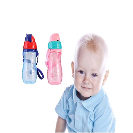 Kids Baby Girls Boys School Drinking Water Straw Bottle With Sippy