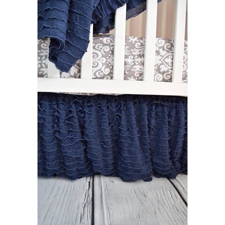 - Navy Blue Ruffle Crib Skirt for Baby Bedding Nursery Decor