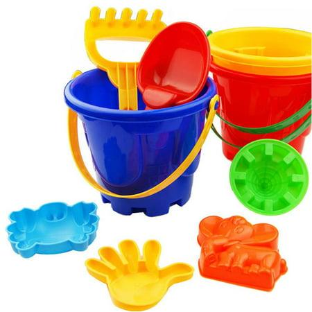 7Pcs Sand Sandbeach Kids Beach Toys Castle Bucket Spade Shovel Rake Water (Castle Bucket)