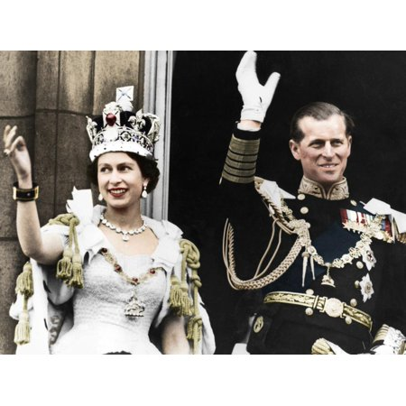 Queen Elizabeth II and the Duke of Edinburgh on their coronation day, Buckingham Palace, 1953 Print Wall Art