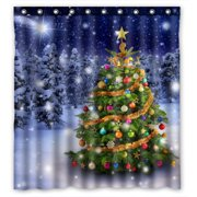 YKCG Magnificent Colorful Christmas Tree Winter Snow Stars Sky Shower Curtain Waterproof Fabric Bathroom Shower Curtain 66x72 inches