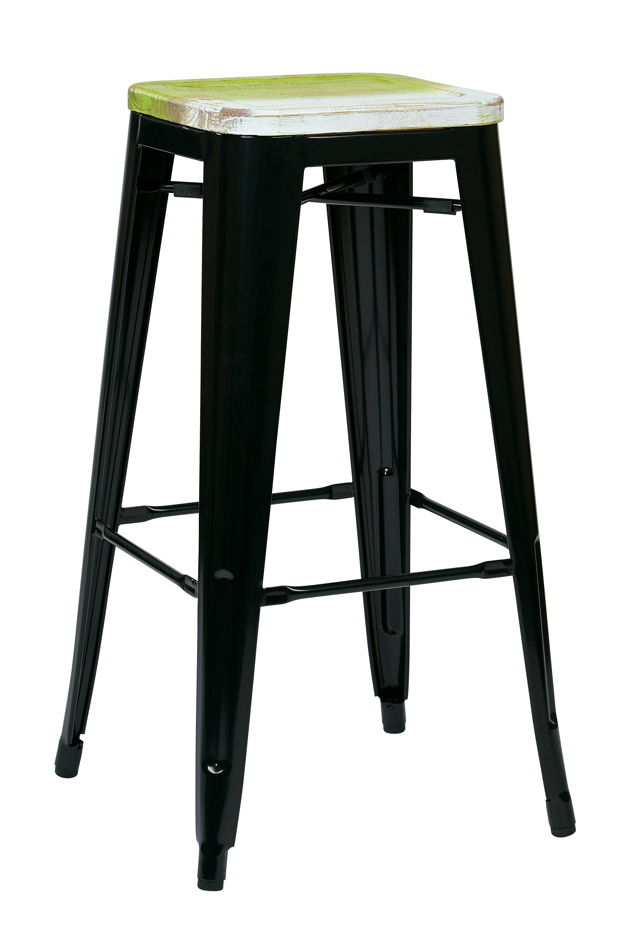 Bristow 30 Metal Barstool With Vintage Wood Seat 2 Pack Walmartcom