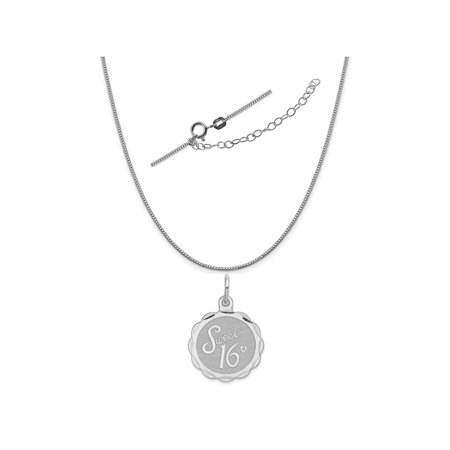 Disco Chain (Sterling Silver Anti-Tarnish Treated Sweet Sixteen Disc Charm on a Box Chain, 18
