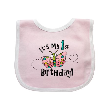 Butterfly 1st Birthday Baby Bib Pink/White One Size