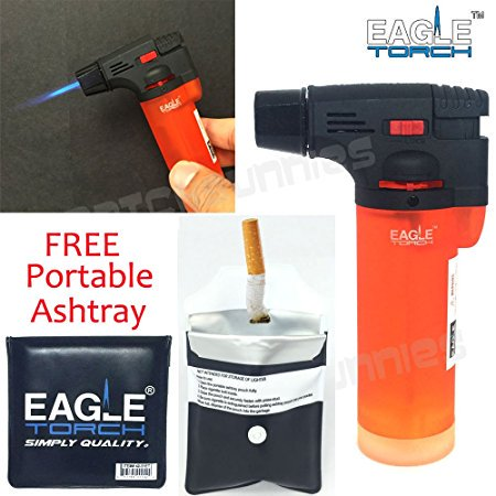 Eagle Jet Torch Gun Lighter Adjustable Flame Windproof Butane Refillable Handy (Orange) by Eagle (Pocket Torch)