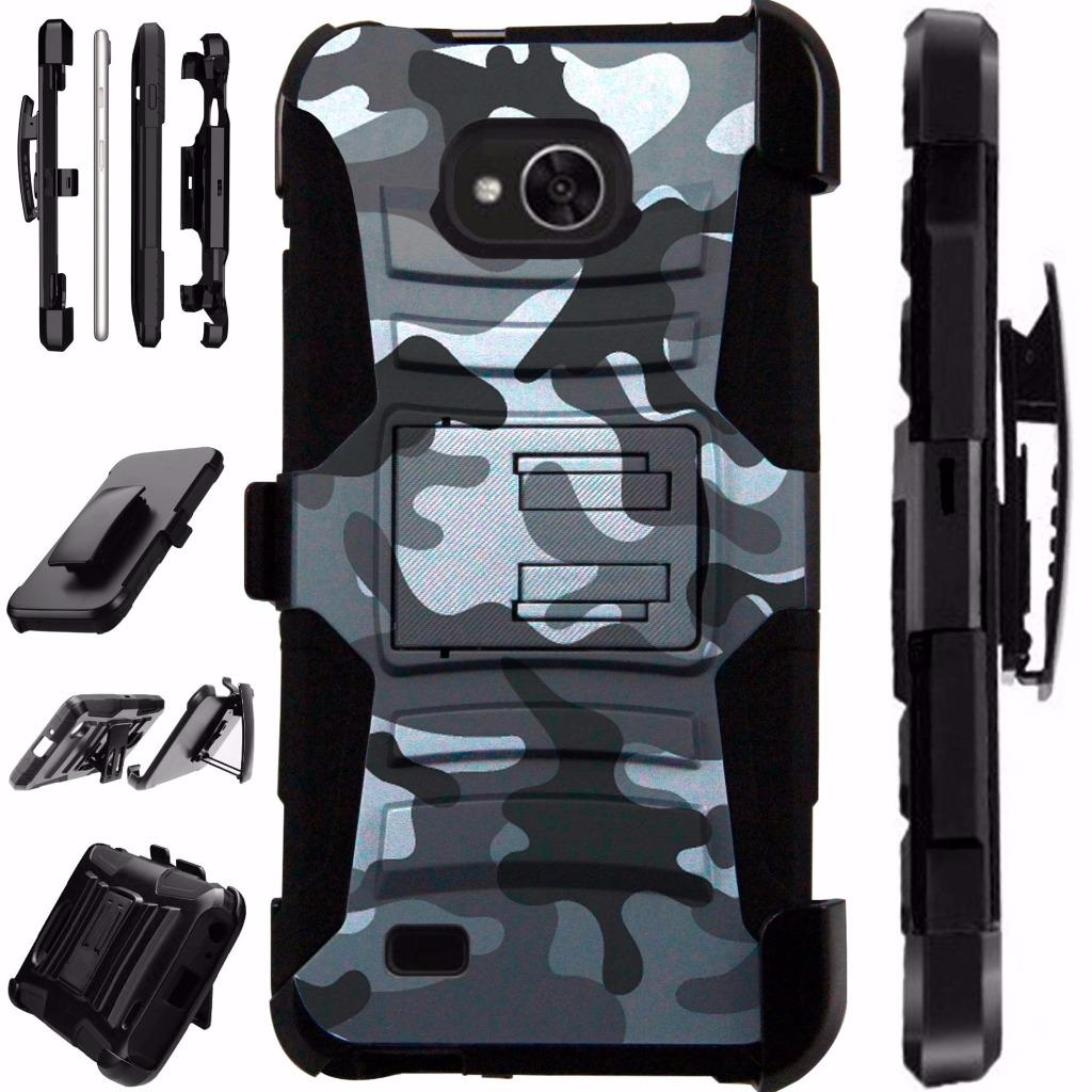 For LG X Venture Case / LG X Calibur Case / LG V9 Case Heavy Duty Hybrid Armor Dual Layer Cover Kick Stand Rugged LuxGuard Holster (Gray Camo)