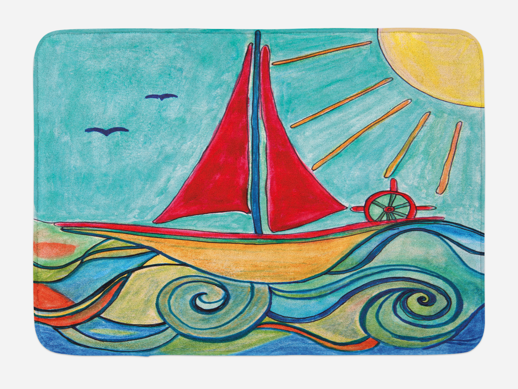 Art Bath Mat, Baby Boy Paintings Ship in the Waves of Ocean Sun Kids Girls Nursery... by 3decor llc