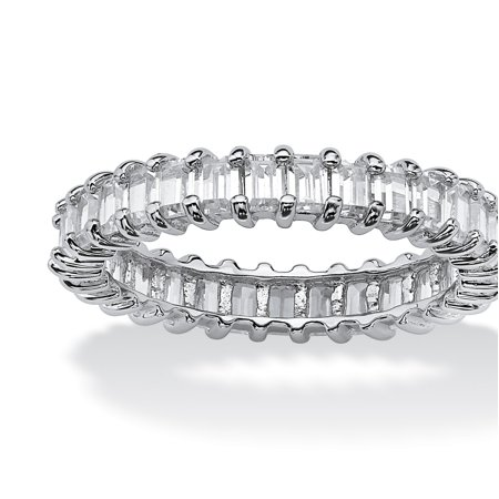 3 TCW Baguette-Cut Cubic Zirconia Stackable Eternity Band in Platinum over .925 Sterling Silver