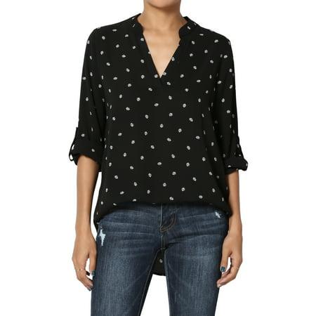 TheMogan Women's Print Split Neck 3/4 Roll Tab Sleeve Pullover Shirt Henley Blouse
