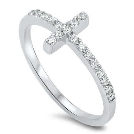 Sterling Silver Women's Flawless Colorless Cubic Zirconia Micro Pave Sideways Cross Ring (Sizes 4-12) (Ring Size 10)