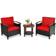 Topbuy 3-Piece Patio Rattan Bistro Set Acacia Wood Frame Sofa and Side Table Beige