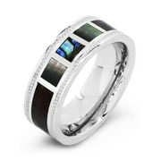 Crucible Stainless Steel Wood And Mother Of Pearl Inlay Milgrain Ring