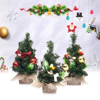 20cmx5.5cm Mini Christmas Tree Desk Top Decoration With Jewelry Balls & Baubles Ornaments Decorations
