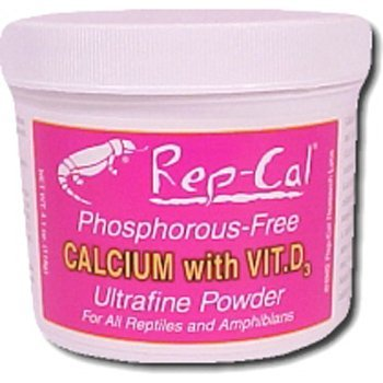 Reptile Calcium (Rep Cal Calcium with Vitamin D3 Ultrafine Powder for Reptiles Amphibians 3.3)