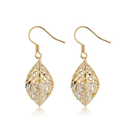 Beautiful Gold Plated Leaf Dangle Earrings With White CZ Encased