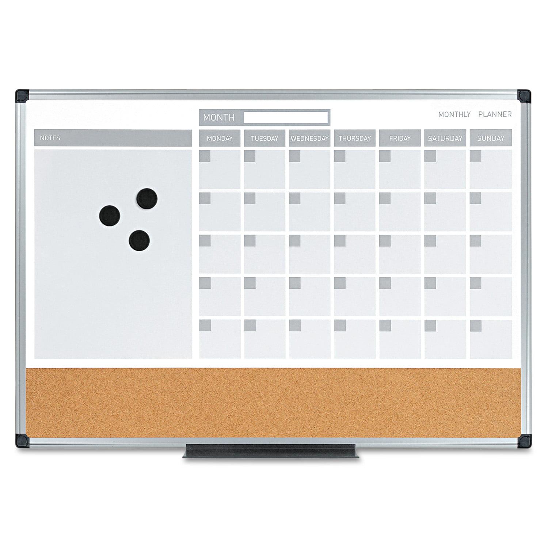 MasterVision 3-in-1 Calendar Planner Dry Erase Board, 24 x 18, Aluminum Frame