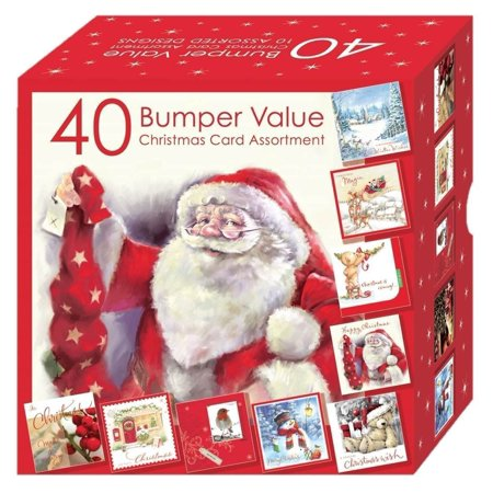 Christmas Cards - Bumper Box 40 Assorted Xmas Cards - 10 Designs Cute Cards