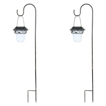 Winsome House Decorative Leaves Hanging Solar Lights With Shepherds Hook Set Of 2