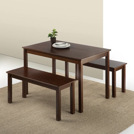 Zinus Juliet Espresso Wood Dining Table with 2 Benches, 3-Piece Set ()