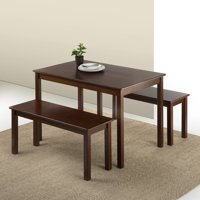 Product Image Zinus Espresso Wood Dining Table With 2 Benches 3 Pc Set