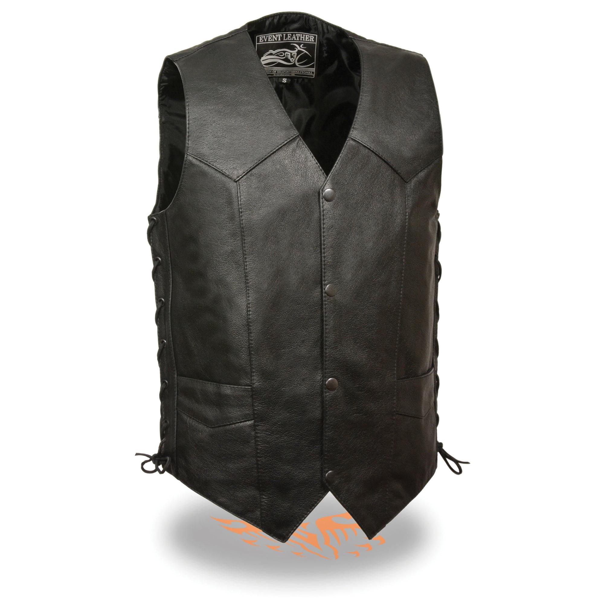 Mens Leather Side Lace Biker Vest with Gun Pocket