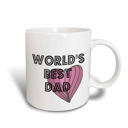 3dRose Worlds Best Dad Heart - Fathers Day - Art, Ceramic Mug, 11-ounce