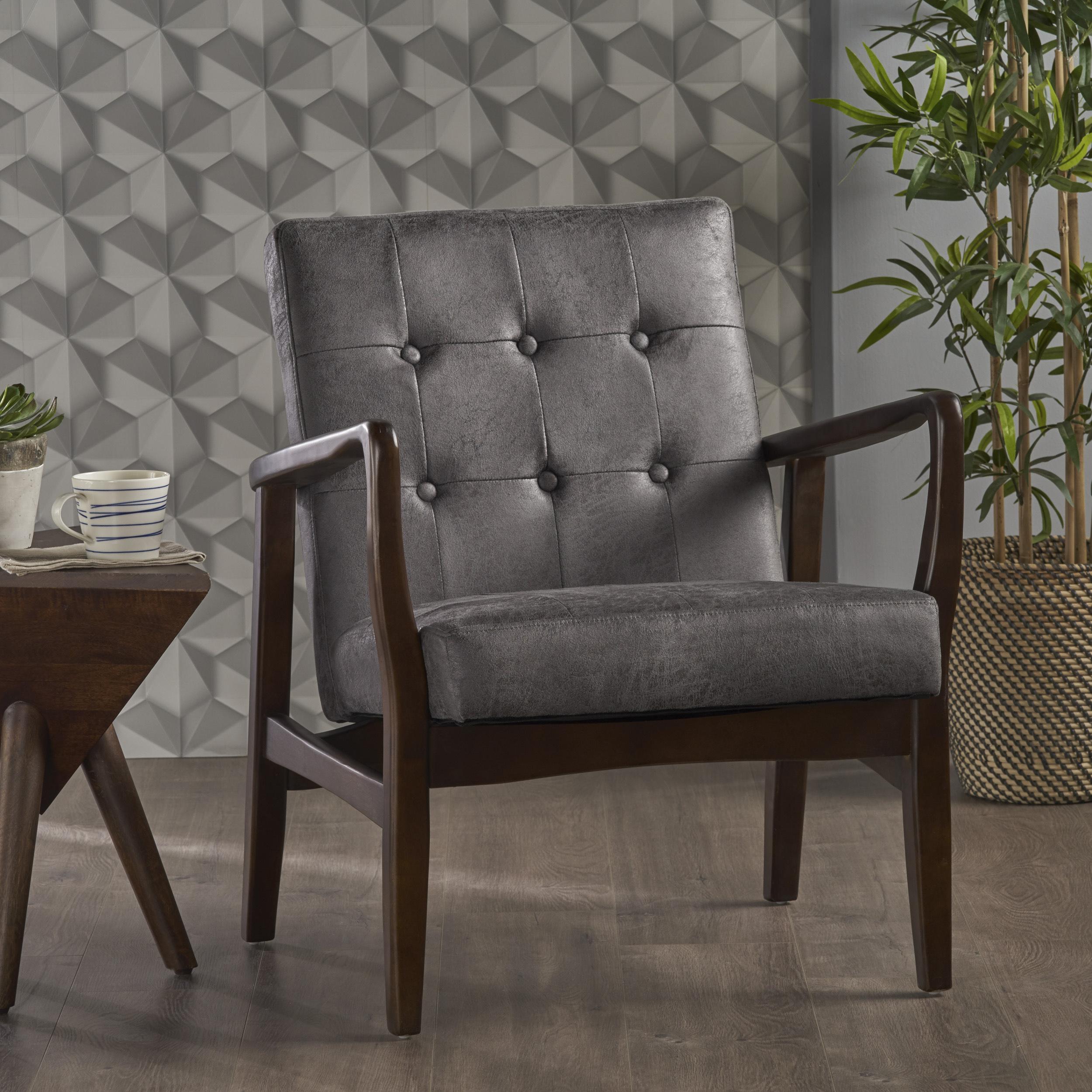 Noble House Everett Mid Century Modern Microfiber Club Chair, Slate, Dark Espresso