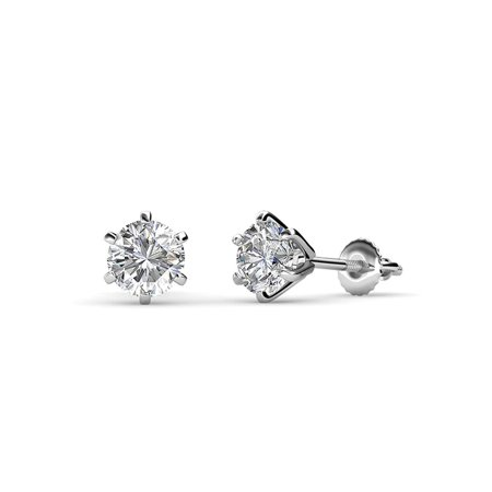 Diamond Six Prong Martini Solitaire Stud Earrings (SI2, G) 1.00 cttw in 14K White - Si2 Diamond Solitaire Earrings