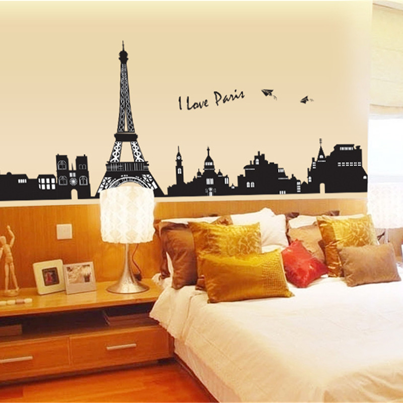 Wall Decals Paris Eiffel Tower, Home Inspira DIY Removable PVC Art Decals Wall Murals Vinyl Wall Decor France Romantic For Office Kids Living Room Bedroom Bathroom Kitchen Wallpaper (28x20Inch)