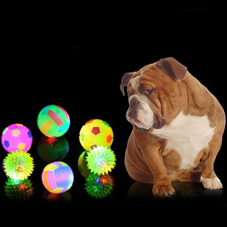 Color Pet Rubber Balls - Dog Toy Balls for Pets Color Pet Flashing Ball Glowing Elastic Ball Dog Toy Ball Rubber Acoustic Mimo Bite Toys , Small Size,Random Color Shape Delivery
