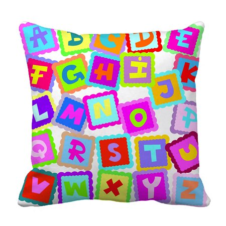 PHFZK Educational Pillow Case, ABC Alphabet Fun Learning Chart Pillowcase Throw Pillow Cushion Cover Two Sides Size 18x18 inches - Pet Size Chart