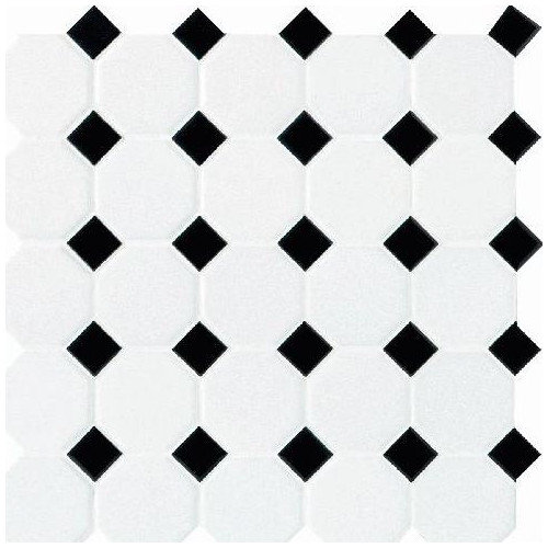 Daltile Octagon and Dot 2'' x 2'' Mosaic in Matte White with Black Gloss Dot