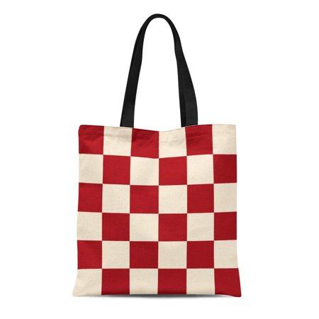 LADDKE Canvas Tote Bag Yellow Pattern Red Cream Chess Board Beige Checkered Burgundy Reusable Shoulder Grocery Shopping Bags Handbag ()