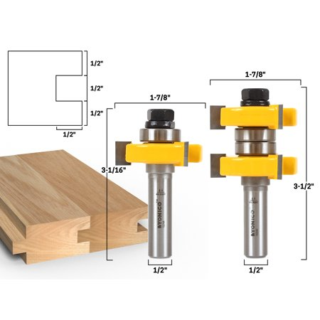 """Tongue & Groove Router Bit Set - 1-1/2"""" Stock - 1/2"""" Shank - Yonico 15224"""
