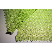 """Altotux 42"""" Rose Venice Lace Fabric All Over Both side Scalloped Edge 9 color (Apple Green)"""