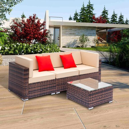 Hommoo Outdoor Furniture Sectional Sofa Set, 4PCS All-Weather Brown PE  Rattan Wicker Sofa Sectional Furniture Set with Cushion and Pillow, Steel  Frame
