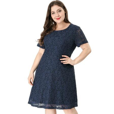 Unique Bargains Women's Plus Size A Line Lace Dress Blue (Size - 4x Plus Size