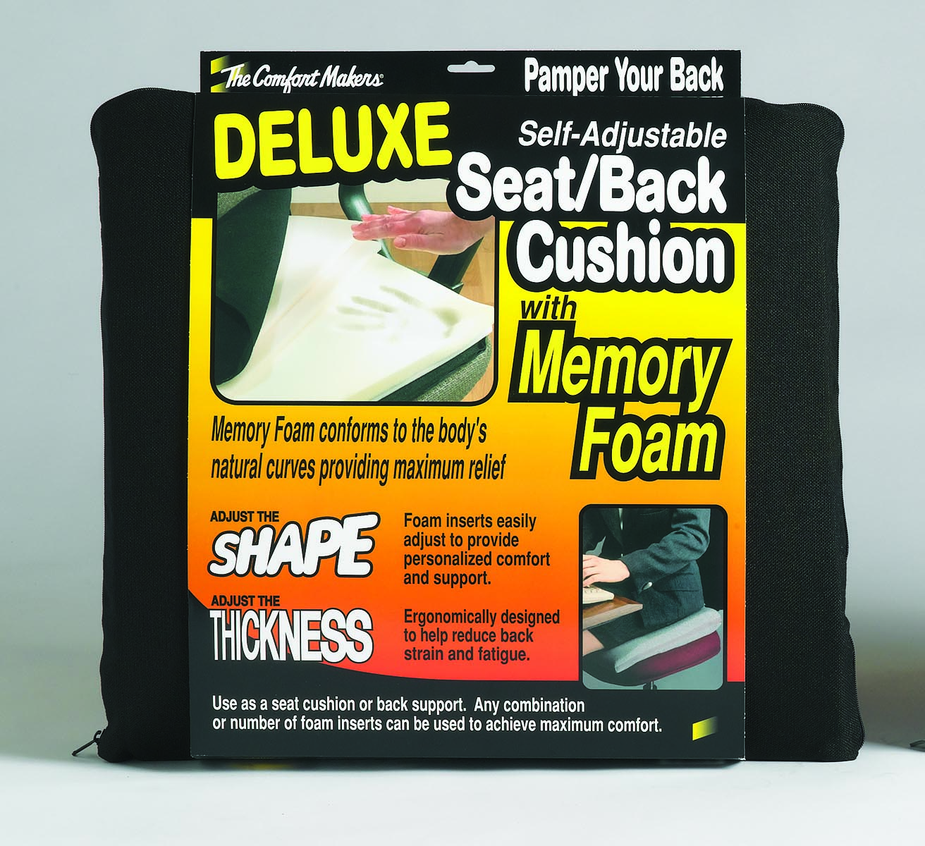 The ComfortMakers® Seat/Back Cushion, Deluxe, Adjustable, Black, 1/Each