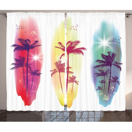 Curtains Ideas curtains birds theme : Tropical Decor Curtains 2 Panels Set, Palm Trees Birds Seagulls ...