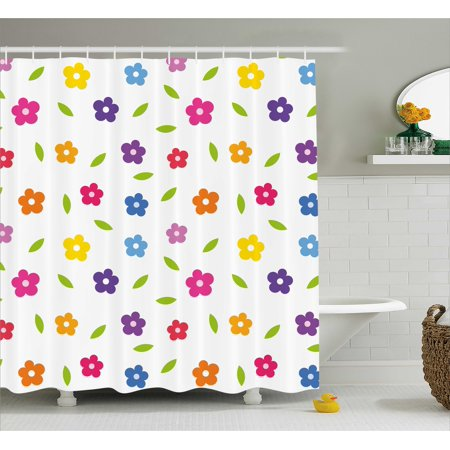 colorful shower curtain vibrant colored daisies leaves spring nature meadow doodle boys girls playroom - Colorful Shower Curtains