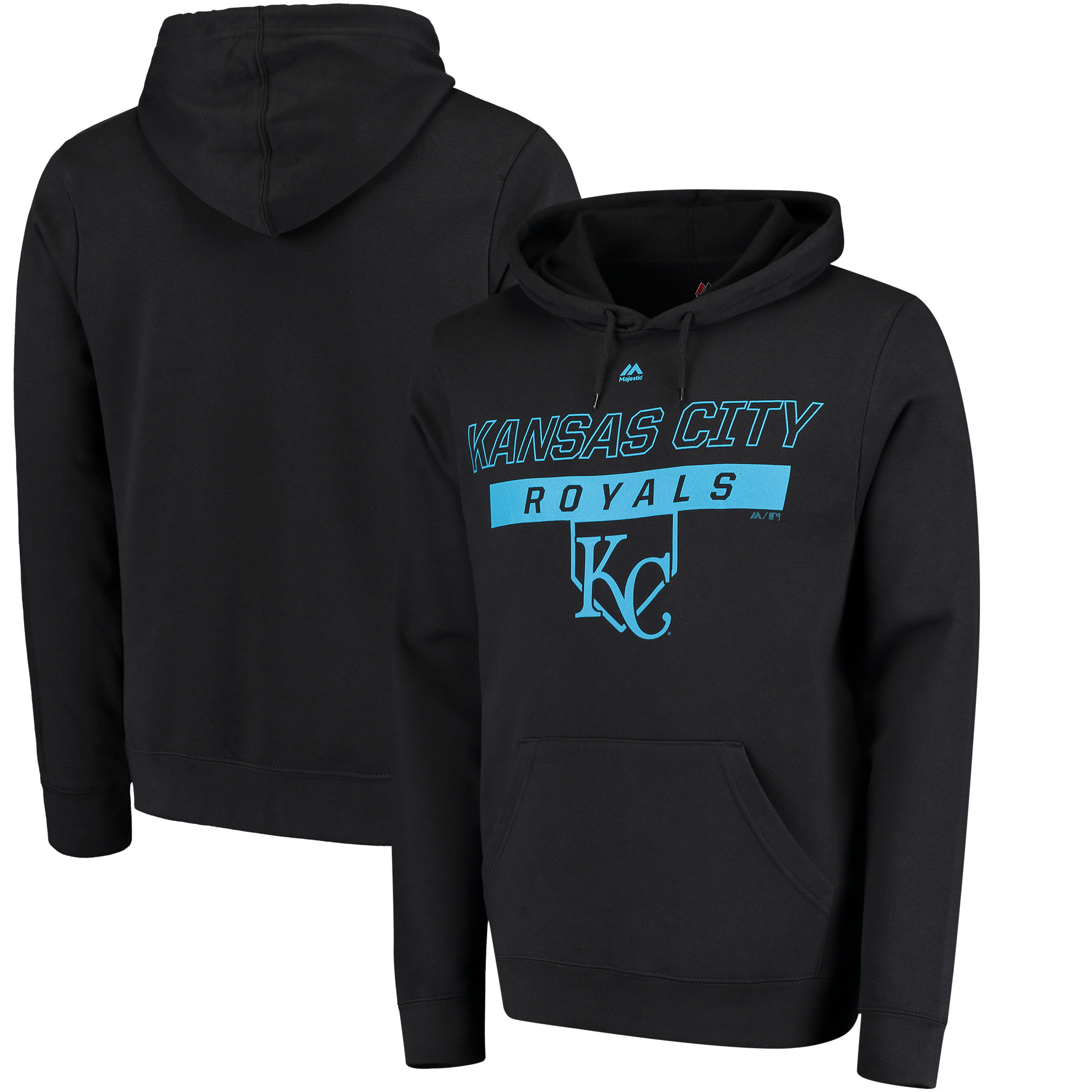 Kansas City Royals Majestic Ready and Able Pop Logo Pullover Hoodie - Black