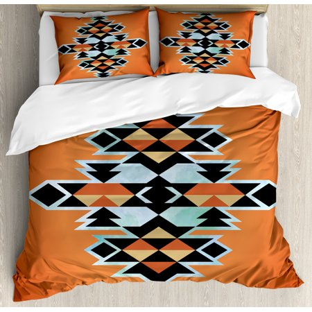 Aztec Design - Tribal Duvet Cover Set, Tribal Aztec Pattern Ethnic Abstract Design Traditional Elements Print, Decorative Bedding Set with Pillow Shams, Orange Black Pale Blue, by Ambesonne