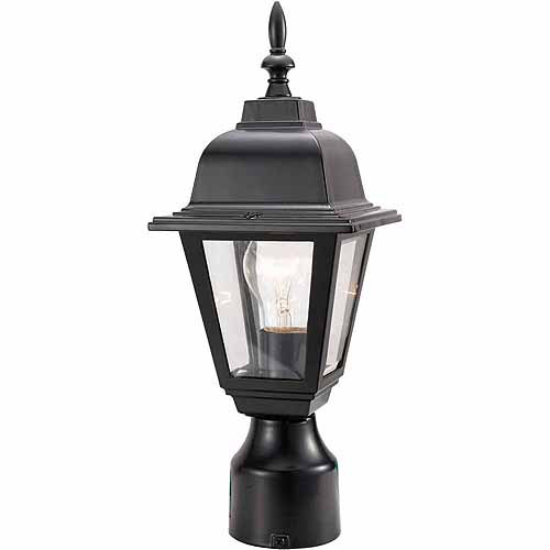 "Design House 507509 Maple Street Outdoor Post Light, 6"" x 16"", Black Die-Cast Aluminum Finish"