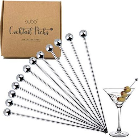 Cocktail Picks Stainless Steel Toothpicks – 4 inch 12 Pack Martini Picks Reusable Fancy Metal Drink Skewers Garnish Swords Sticks for Martini Olives Appetizers Bloody Mary Brandied Colorful Martini Picks