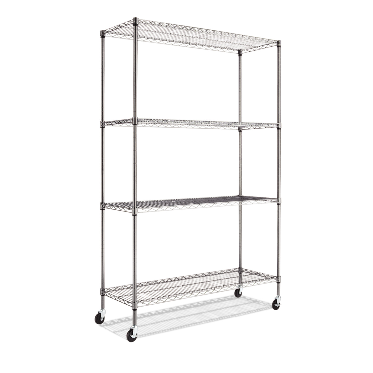 "Alera Complete Wire Shelving Unit with Casters, Four-Shelf, 48"" x 18"" x 72"", Black Anthracite"