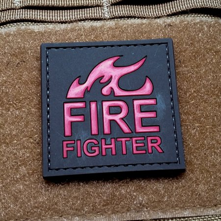 FIREFIGHTER PVC Rubber Morale Patch by NEO Tactical Gear Morale Patch - Hook Velcro Sewn On Back
