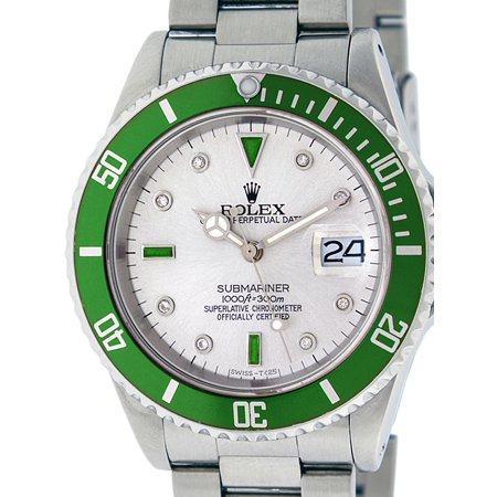 Pre-Owned Rolex Mens Submariner Stainless Steel Oyster Perpetual Silver Diamond & Emerald Watch with Green Ceramic Insert