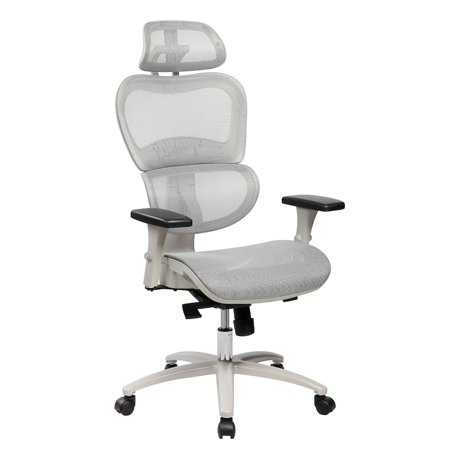 Techni Mobili High Back Mesh Executive Office Chair With Neck Support Color Grey